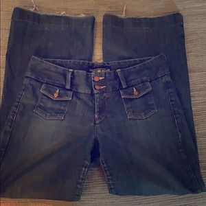Lucky brand wide leg jeans with copper buttons